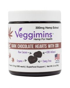 Veggimins Dark Chocolate Hearts with CBD - 300 mg - 2 oz