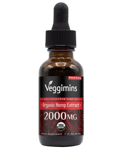 Veggimins USDA Organic Hemp Oil with Hemp Extract - Blood Orange - 2000 mg
